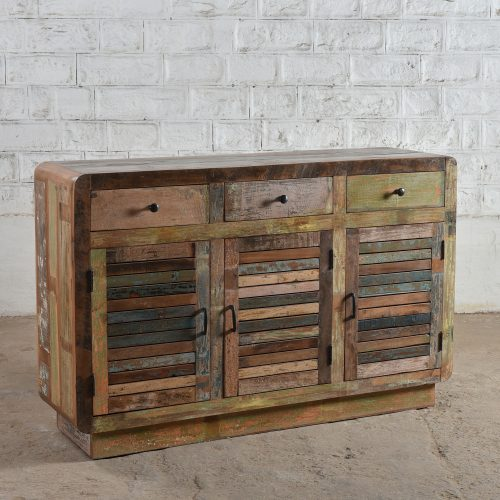 Reclaimed wooden 3-door, 3-drawer sideboard