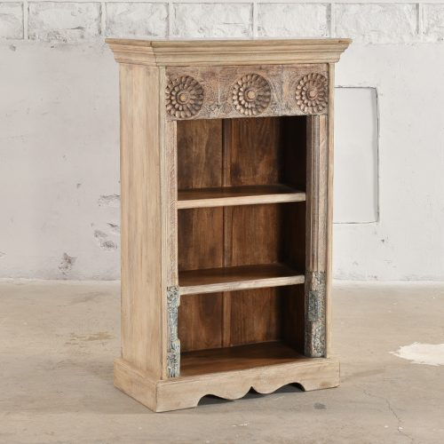 Antique white painted bookcase with original carving
