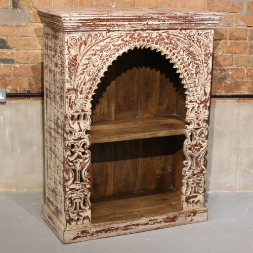 Original carved bookcase with shelf