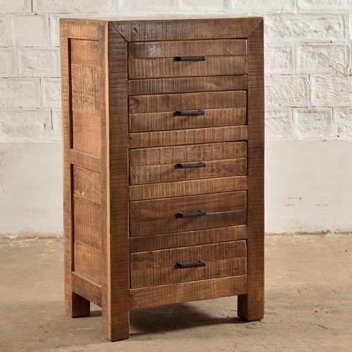 Sawn wood, tall chest with 5 drawers