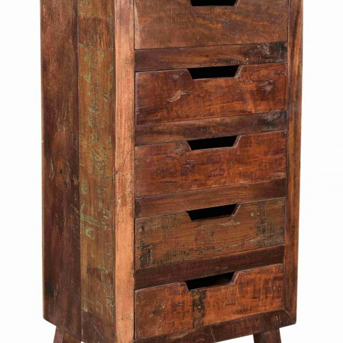 Reclaimed wooden 5-drawer chest