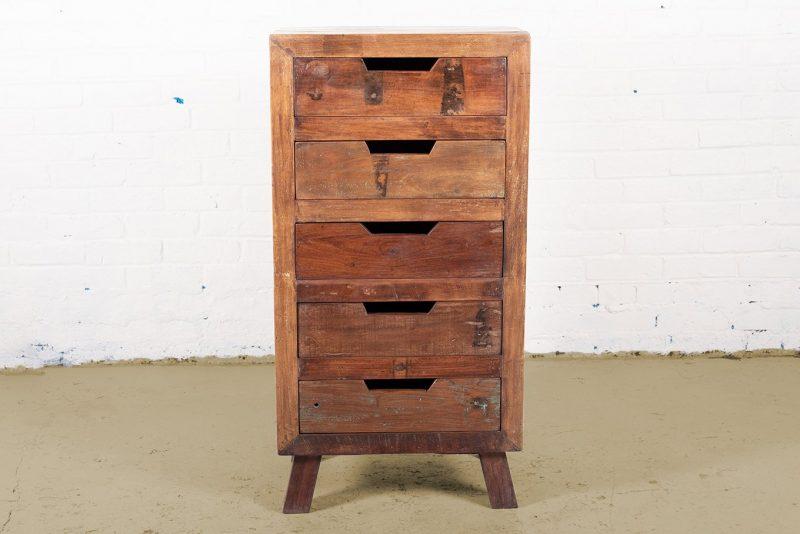 Reclaimed wooden 5-drawer chest