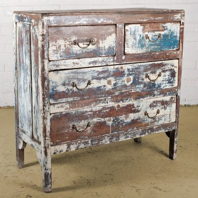 Original, old chest of drawers with distressed antique white paint