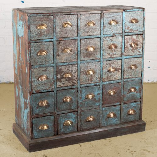 An original, aged blue, wooden apothecary cabinet with 25 drawers
