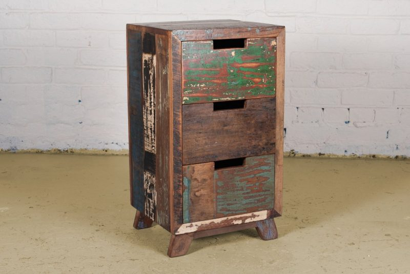 Reclaimed, colourful wooden bedside cabiinet with 3-drawers