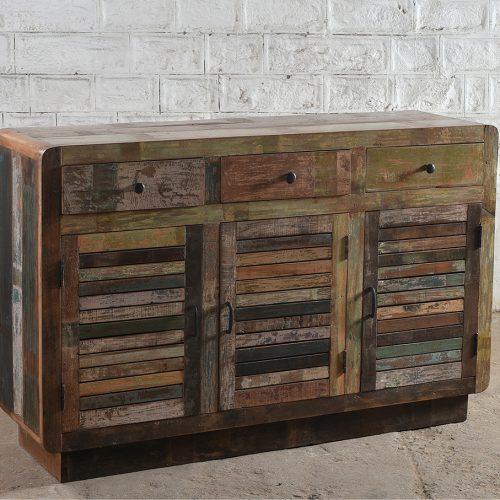 Reclaimed wooden 3-door, 3-drawer sideboard