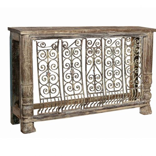 Original balcony repurposed as a grand console