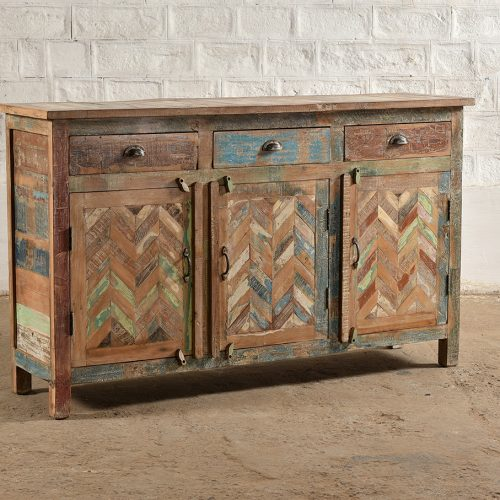Colourful, reclaimed wooden cabinet with 3-doors & 3-drawers
