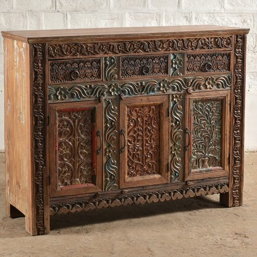 Intricately hand-carved, 3-door, 3-drawer sideboard