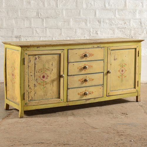 Original yellow wooden sideboard with 2-doors and 4-drawers