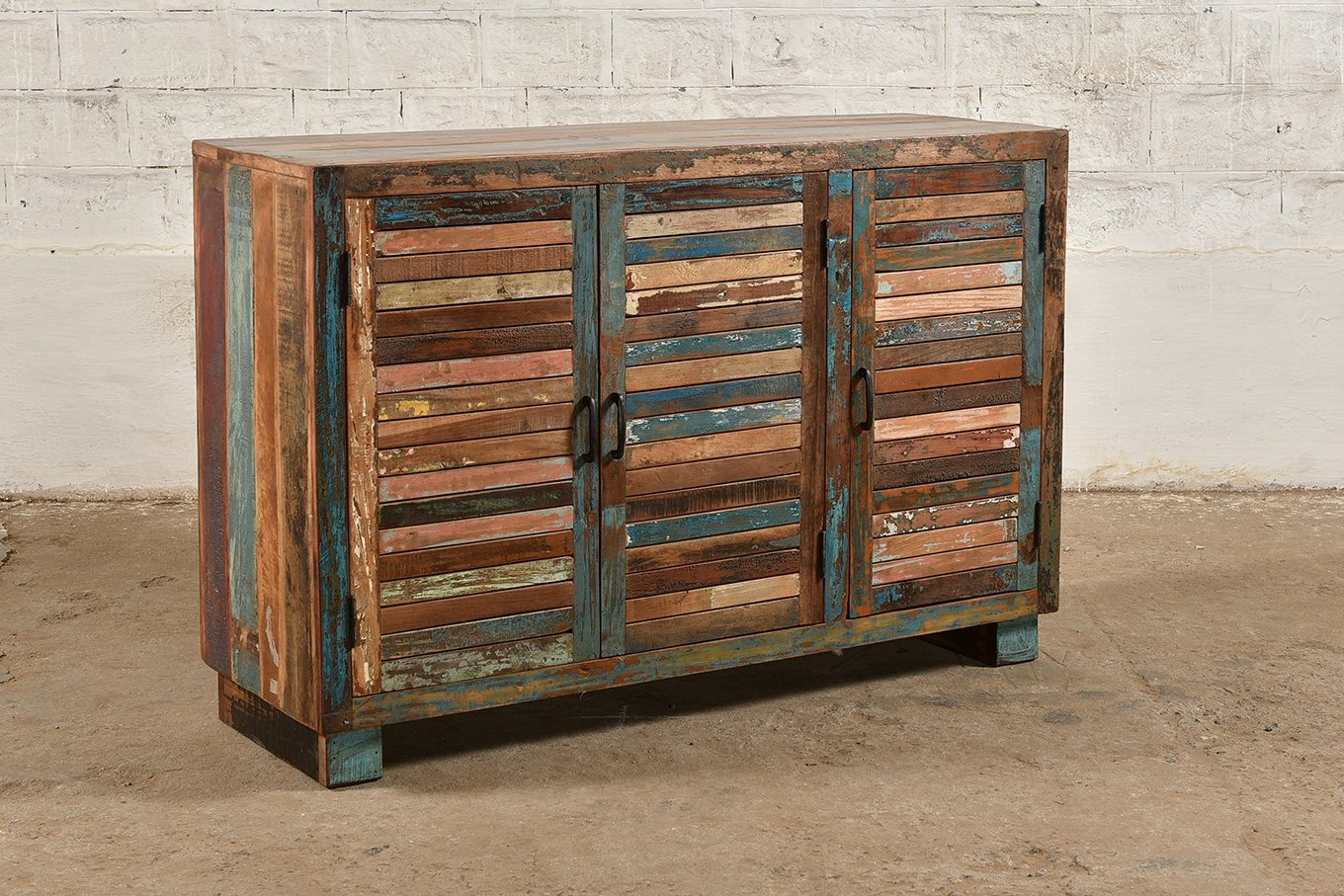 Colourful, square edged sideboard made from reclaimed wood