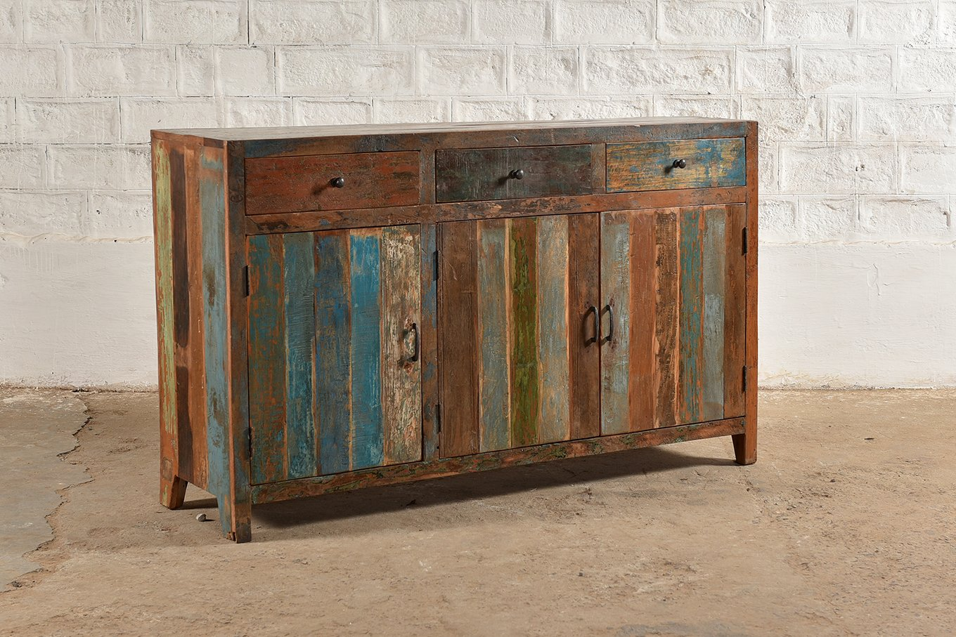 Colourful, 3-door/ 3-drawer sideboard made from reclaimed wood