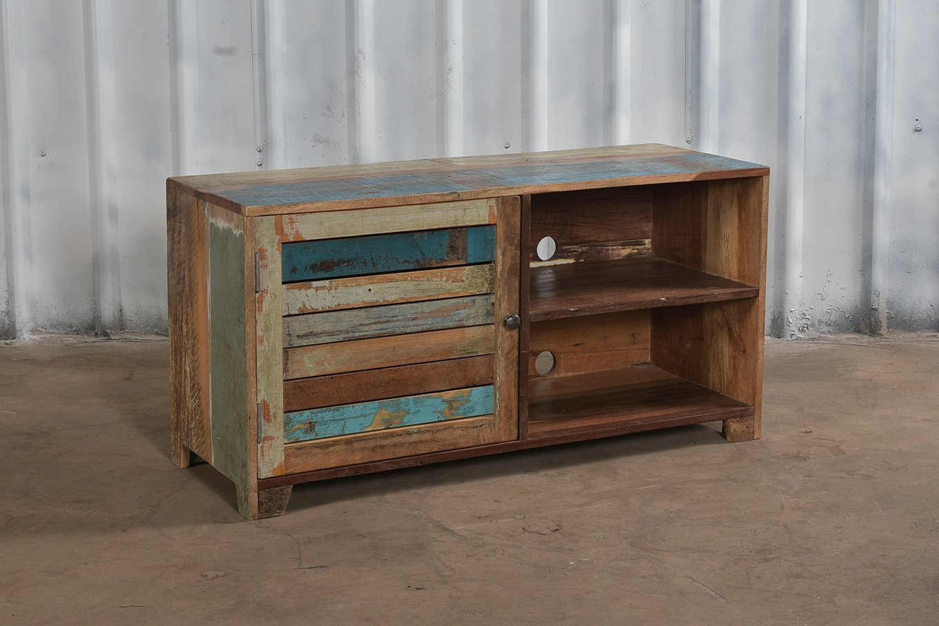 Colourful reclaimed wooden media unit