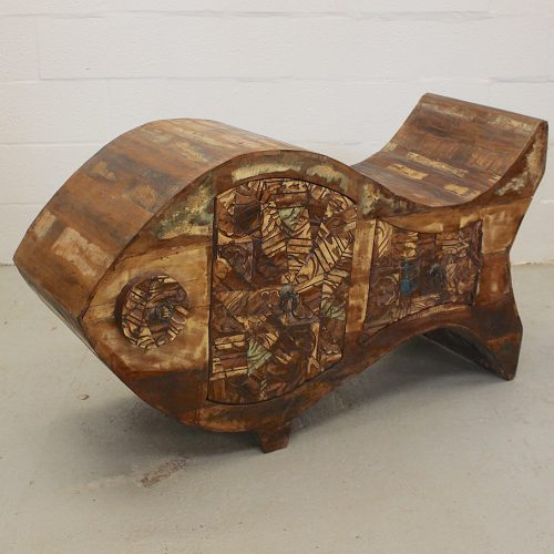 Carved, fish shaped reclaimed wooden console