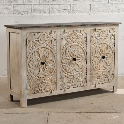 Vintage white 3-door cabinet with floral carvings