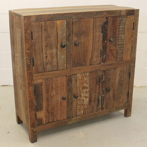 Reclaimed wooden cupboard with 6-doors