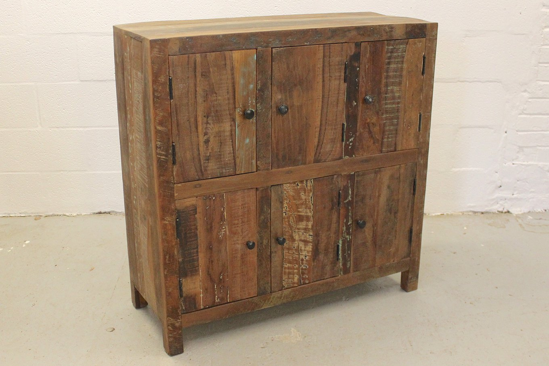 Reclaimed wooden cupboard with 6-doors