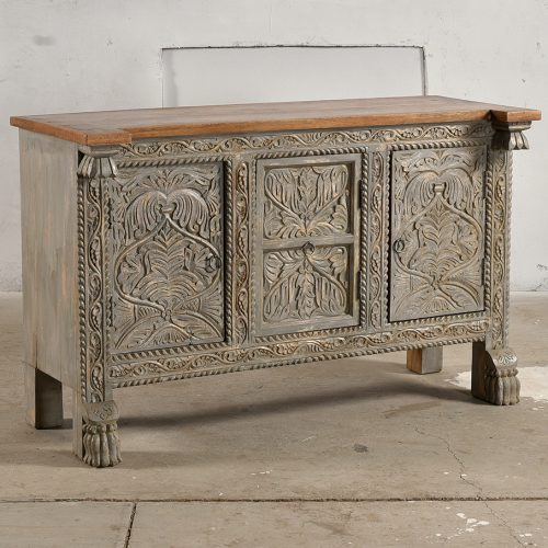 Antique grey, 3-door wooden console with carved front