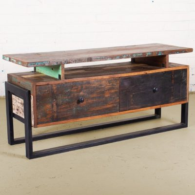 Reclaimed 2-drawer media unit with shelf