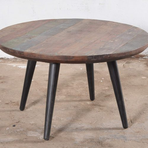 Industrial coffee table with round, colourful wooden top