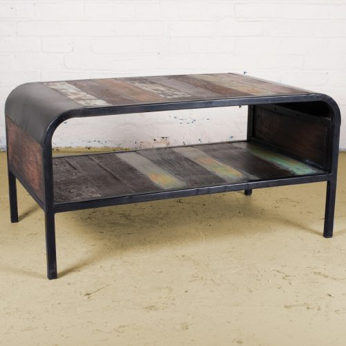Industrial coffee table with magazine shelf
