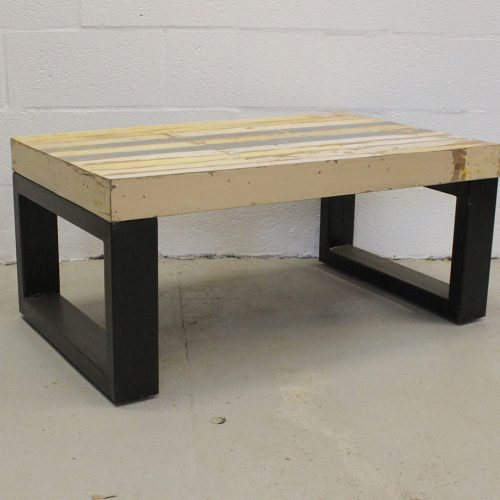 Painted wooden coffee table with tubular iron base