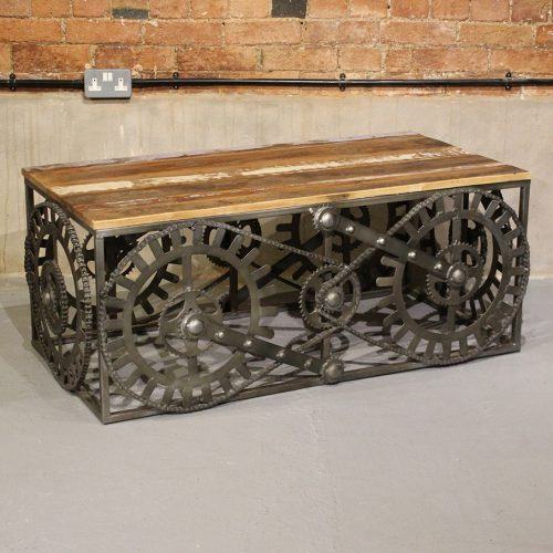 Industrial coffee table with gear & chain design base and reclaimed wooden top