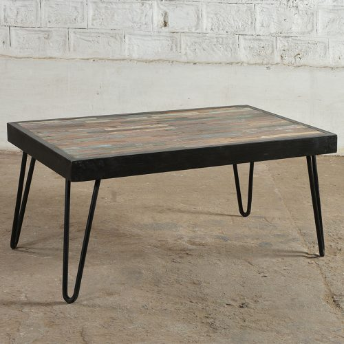 Industrial reclaimed mosaic and metal coffee table