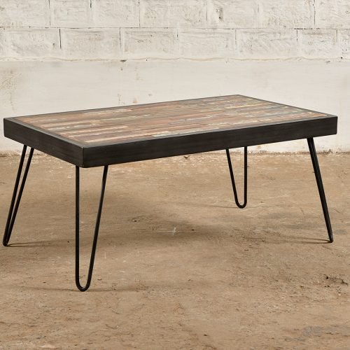 Industrial reclaimed wood and iron coffee table