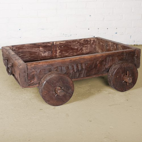 An original wooden dolly box cart