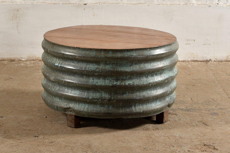CT00124 VINTAGE Round Barrel Coffee Table