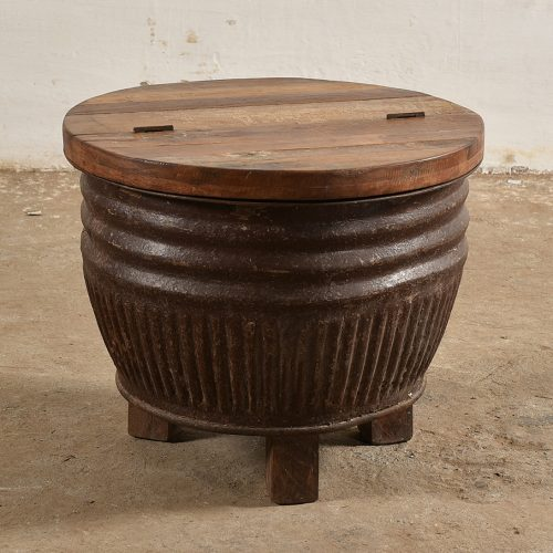 Round industrial coffee table with storage