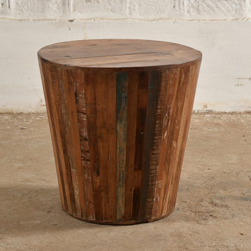 Round barrell side table made from reclaimed wood