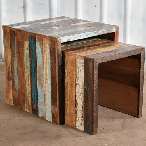 Colourful, reclaimed wooden pair of side tables
