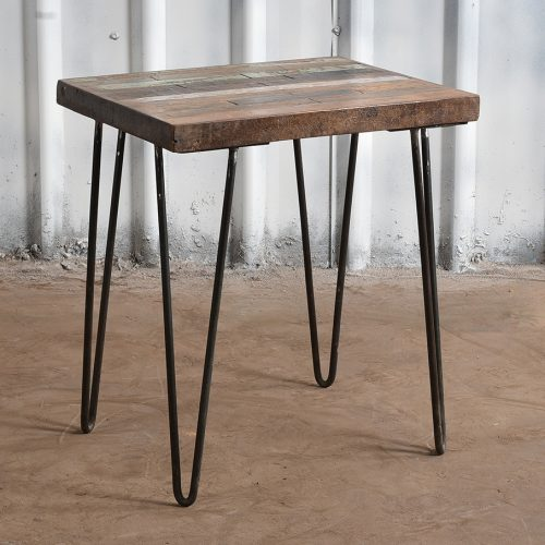 Reclaimed wooden side table with iron legs