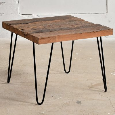 Coffee Table with reclaimed sleeper wood top & minimilist iron legs