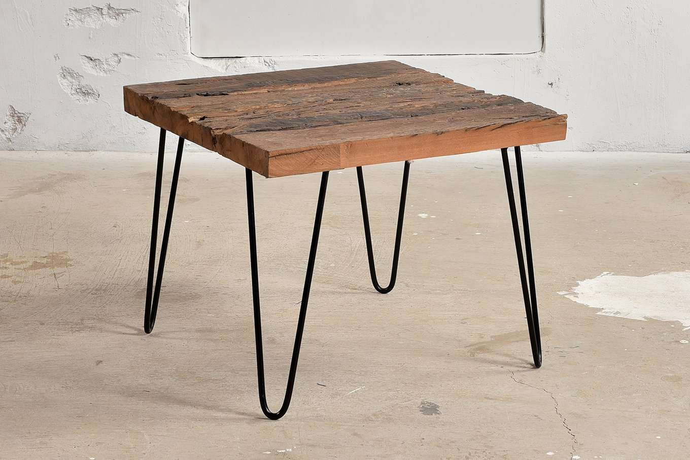 Coffee Table with reclaimed sleeper wood top & minimilist iron legs