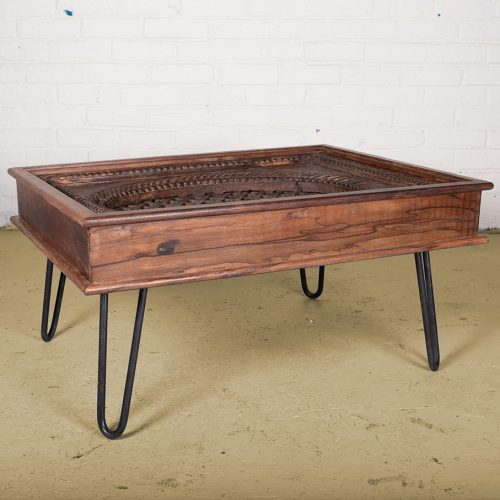 Coffee table made from original teak wood window frame