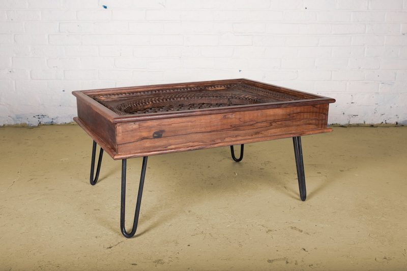 Coffee table made from original teak wood window frame