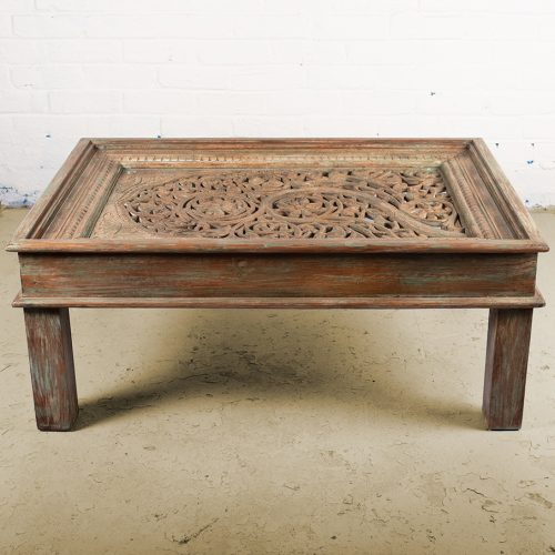 Antique green coffee table with old Jali window top