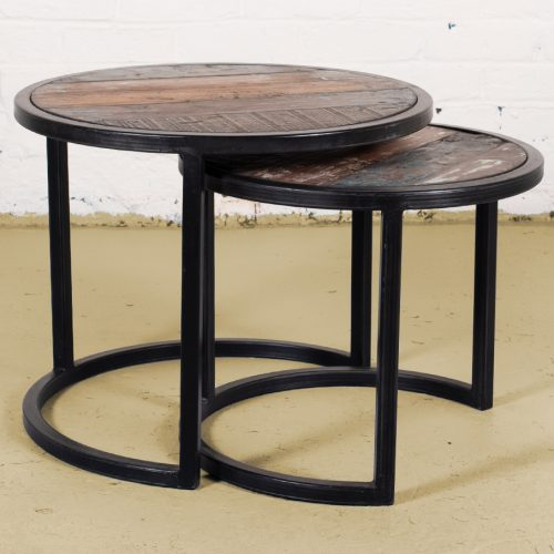Pair of industrial nest/ side tables