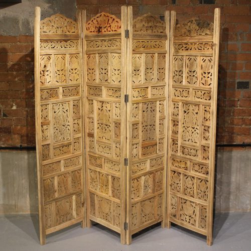 Folding wooden screen with leaf pattern design