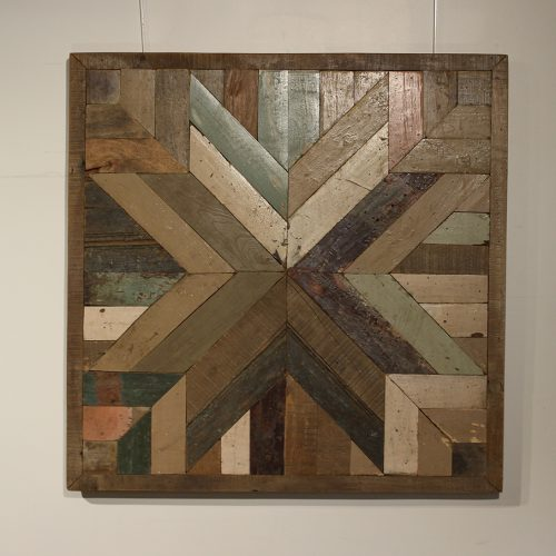 Reclaimed square wooden wall panel with mosaic star pattern