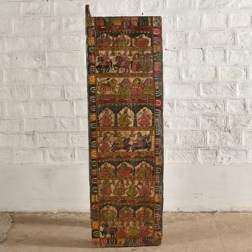 Original painted teak wood door panel