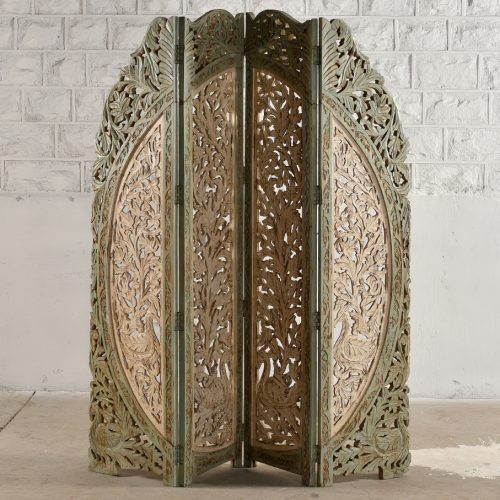 Antique white carved 4-panel folding screen