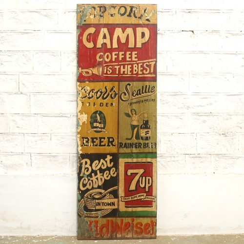 Hand painted wooden advertising panel
