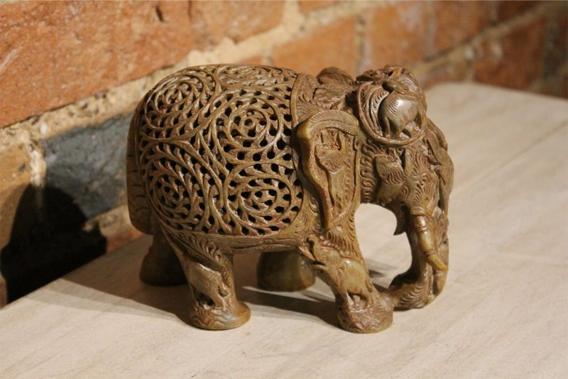 Hand-carved elephant made from marble