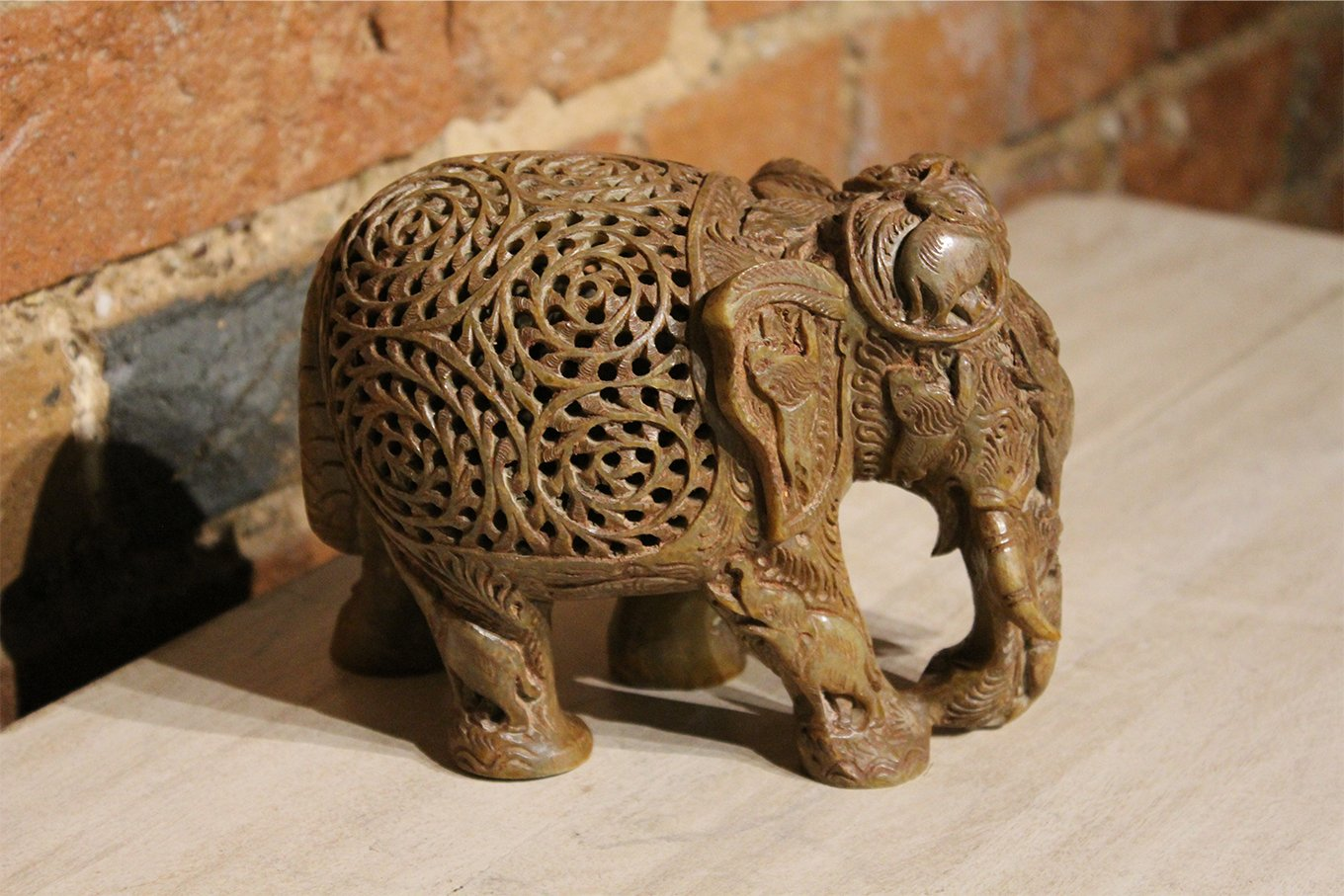 HC00001 Intricately Carved Marble Elephant SMALL