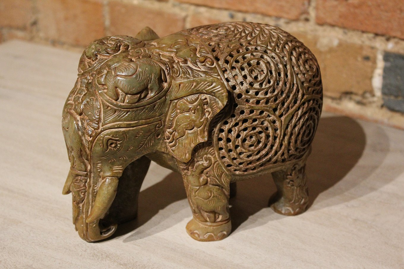 HC00002 Intricately Carved Marble Elephant LARGE