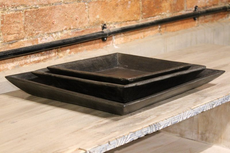 Square matt black marble plate